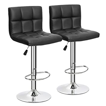 Furmax Black Leather Bar Stools Counter Height Modern Adjustable Synthetic  Leather Swivel Bar Stool,Set