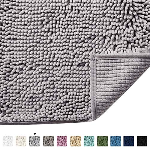 H.VERSAILTEX Grey Rugs for Bathroom Slip-Resistant Shag Chenille Bath Rugs Mat Extra Soft and Absorbent Bath Rug for Shower Room Machine-Washable Fast Dry (Gray, 17