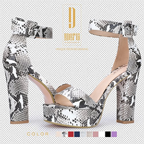 IDIFU Women's IN5 Sabrina Ankle Strap Platform High Chunky Heels Party Sandal