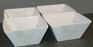 Food Network Green Utensil Square Soup Cereal Bowls SET/4