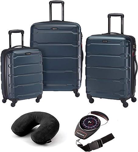 Samsonite Omni Hardside Luggage Nested Spinner Set of 3 Teal with Travel Kit