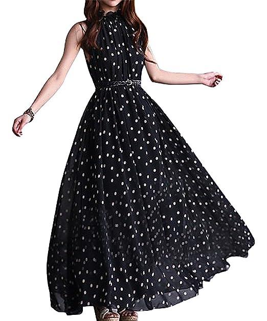 f275b9e71c5e BLady Women Vintage Red Or Black White Polka Dot Sleeveless Long Flowy Dress