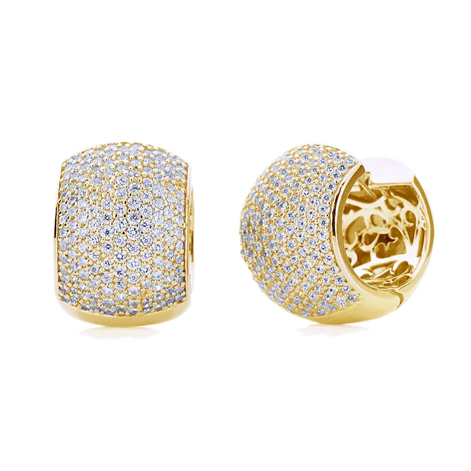 Sterling Silver 14K Gold Plated Round Cubic Zirconia Pave Set Domed Huggie Hoop Earrings