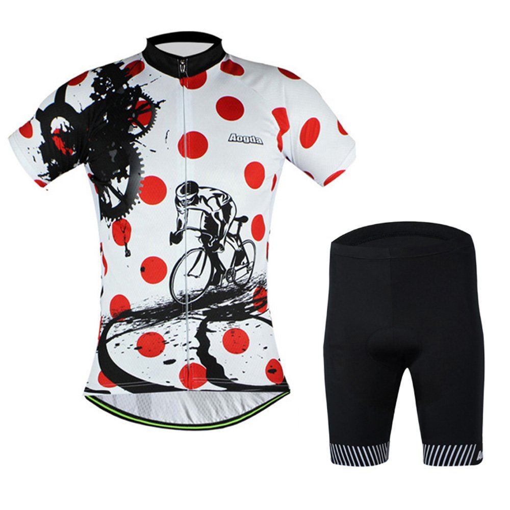 Aogda White Cycling Jerseys Mens Bike Shirts Short Sleeves Suit Aogda Cycling Jersey
