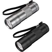 uxcell® UV Mini 9 LED Aluminum Flashlight Ultraviolet Blacklight Torch with Lanyard AAA Battery Not Included Blue