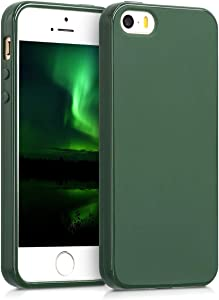 kwmobile TPU Silicone Case Compatible with Apple iPhone SE (1.Gen 2016) / 5 / 5S - Soft Flexible Protective Phone Cover - Dark Green Matte