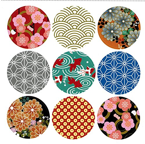 Pack of 90 Japan style Decorative Adhesive Label 1.53'' Personalized Stickers Packaging Seals Crafts Handmade Baked Envelope Label Decorative Sticker (Japan style (Stationary Stickers)