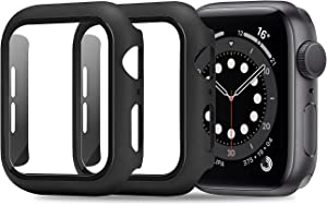 ULUQ Case Compatible with Apple Watch Series 6/5/4/SE 44mm Built in HD Screen Protector, 2 Pack Ultra-Thin Hard All-Around Protective Cover (Black)