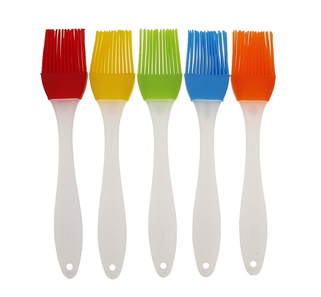 FDIO 5 Pcs Silicone Pastry/Basting/Oil Brush,Kitchen Gadgets for BBQ,Meat,Grilling,Cakes,(Multicolor) 1 MATERIAL: The oil brush head is made of food-grade silicone, which can withstand high temperature. The handle is environment-friendly PP which is non-toxic and durable FIVE COLOR TO CREATE FOOD: Including multiple colour 5 silicone brushes in one set, vibrant colors, avoid flavor crossing by using one color for different seasoning LIGHTWEIGHT DESIGN: The lightweight handle provides a soft comfortable firm grip making basting easy, quick and effortless coating action, can be used in many applications