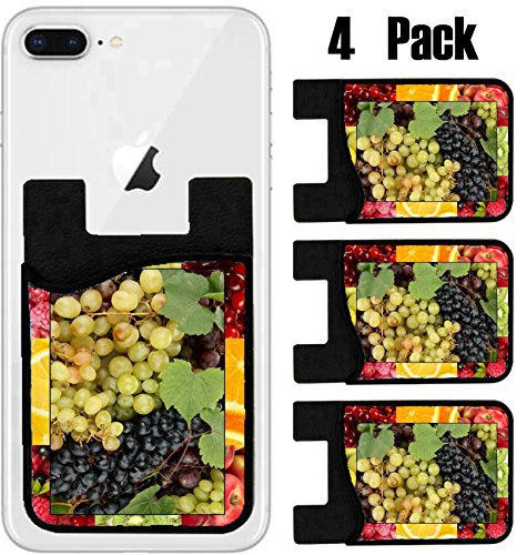 MSD Phone Card holder sleeve wallet for iPhone Samsung Android and all smartphones with removable microfiber screen cleaner Silicone card Caddy(4 Pack) IMAGE ID 20649531 Colorful healthy fruit collag by MSD