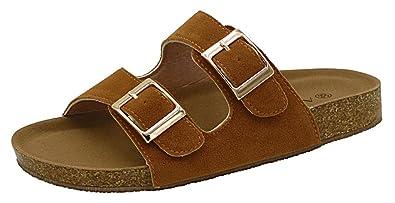 AgeeMi Shoes Unisex Slip On Offener Zeh Doppel Riemen Gummi Flats Sandalen,EuL04 Braun 33