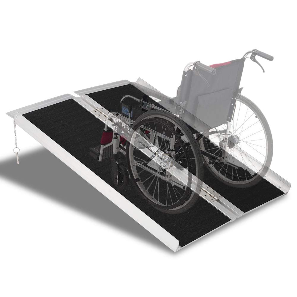 Mefeir 3FT Handicap Portable Aluminum Wheelchair Ramps, Singlefold Loading Scooter Ramps, Non-Skid Lightweight Traction Folding Disabled Threshold Ramps for Home or Temporar, 600Lbs Loading Capacity