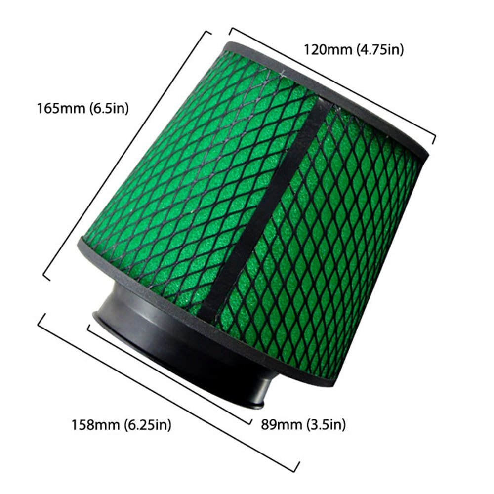 , Black Upgr8 Universal Super High Dry Flow Air Filter Intake Cone 3.5 89MM