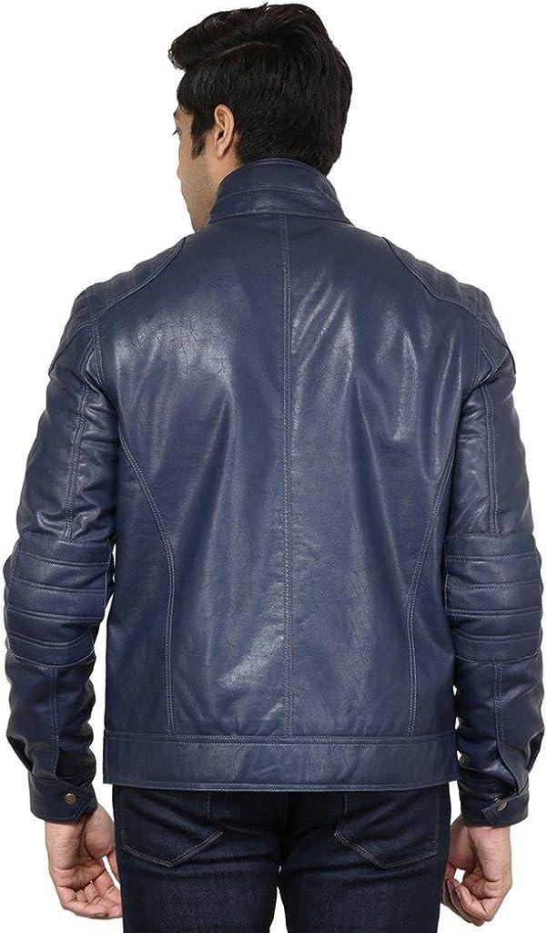 Leather Gallery Mens Genuine Lambskin Bomber Motorcylce Leather Jacket