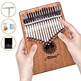 Makanu 17 Key Kalimba Thumb Piano Solid Finger Piano Mahogany Body,Set of 5 -Tuning hammer,Study instruction,Tune and color stickers,Portable piano bag,Packing case