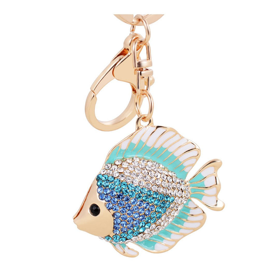 Aibearty Fashionable Key Ring Goldfish Crystal Keychain Bag & Car Jewelry Accessory(Green)