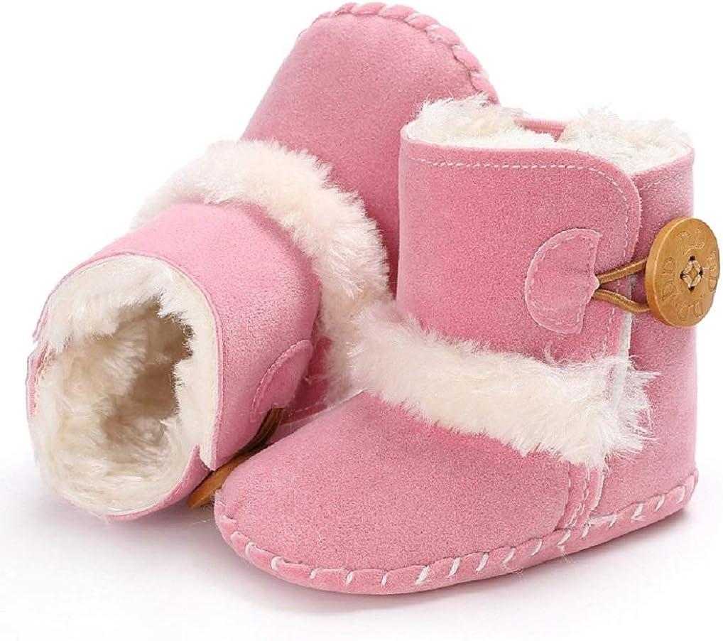 Jonbaem Baby Winter Buttons Snow Boots Warm Shoes Anti-Skid Plush Ankle Booties Newborn Infant Crib Boots