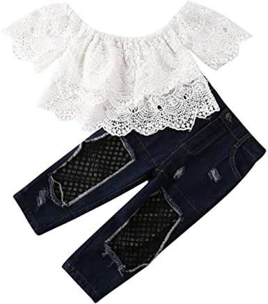 Toddler Kids Baby Girls Off Shoulder T-shirt Tops+Pants Outfits Clothes 2PCS Set