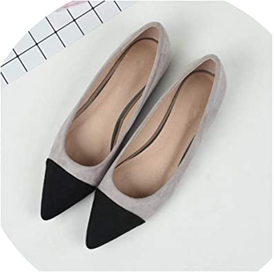Dress-shop Shallow Flats Womens Suede Flat Heel Pearl Flat Heel Pointed Casual Ladies Flat Shoes,Brown,9,US