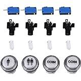 4Pcs Bouton-poussoirs Arcade de Demarrage Lumineux Accessoires 24mm pour Jeu Arcade