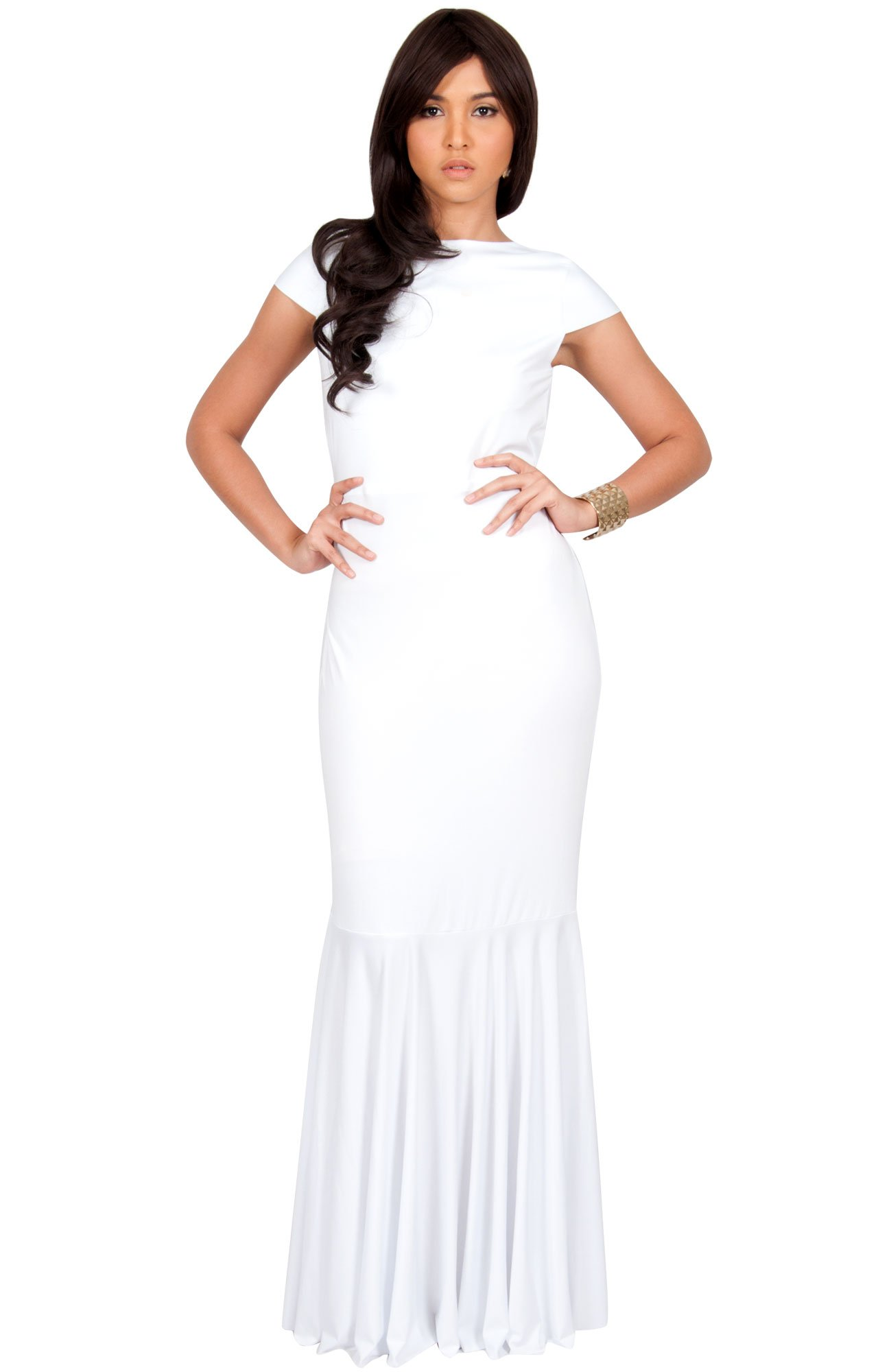 KOH KOH Womens Long Cap Short Sleeve Formal Sexy Evening Prom Cocktail Bridesmaids Wedding Party Guest Tube Flowy Cute Fishtail Gown Gowns Maxi Dress Dresses, White M 8-10