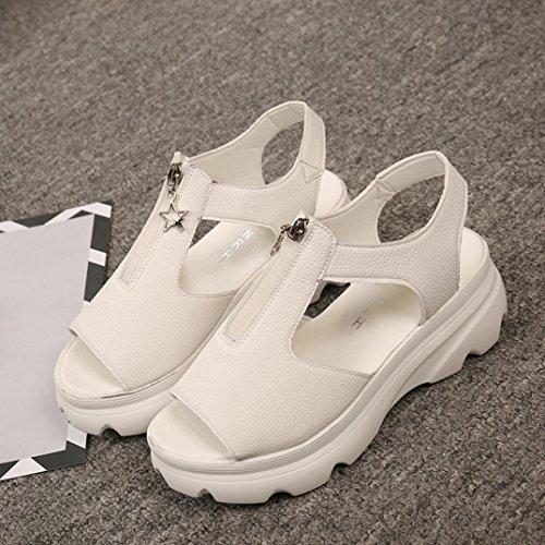 Culater Sandalias Mujer Plataforma Zapatillas de verano Beige