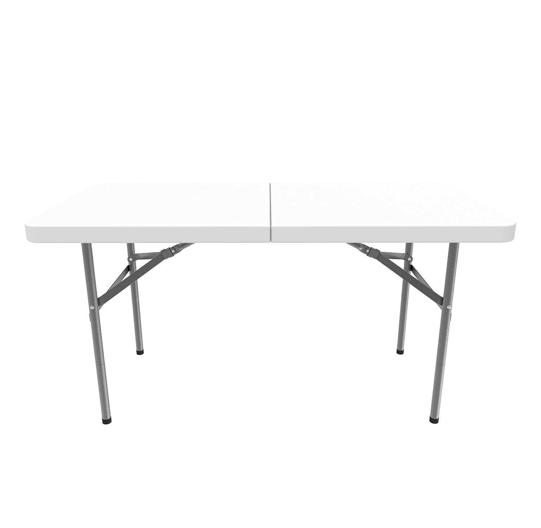 Todeco - Mesa Plegable Portátil, Mesa de Plástico Resistente - Material: HDPE - Carga máxima: 100 kg - 122 x 61 cm, Blanco, Plegable por la mitad