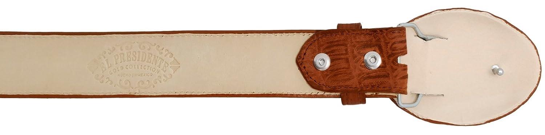 Mens Cognac Crocodile Tail Leather Western Belt Round Buckle 40 Cowboy Professional