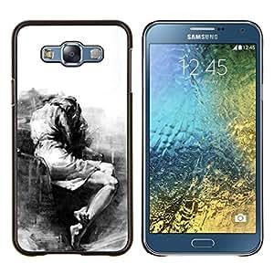 Triste Llorando Depresión melancólica Heartbreak- Metal de aluminio y de plástico duro Caja del teléfono - Negro - Samsung Galaxy E7 / SM-E700