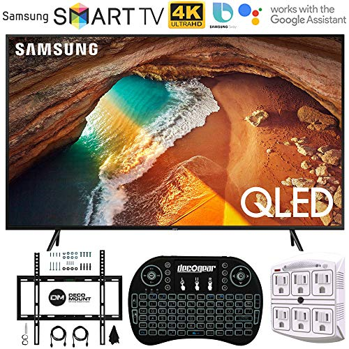 Samsung QN55Q60RA 55″ Q60 QLED Smart 4K UHD TV (2019 Model) – (Renewed) w/Flat Wall Mount Kit Bundle for 45-90 TVs + 2.4GHz Wireless Backlit Keyboard Smart Remote + 6-Outlet Surge Adapter