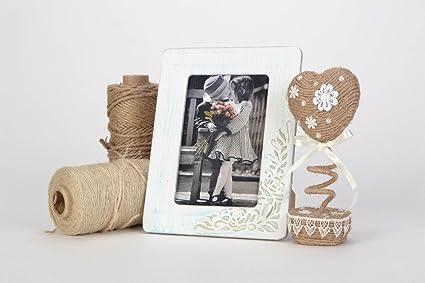 Marco de fotos de madera artesanal blanco con ornamento vintage 10õ15