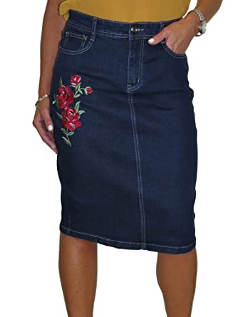 4f371fec71e ICE Stretch Denim Jeans Skirt Embroidered Rose Indigo Dark Blue 12-24 (12)