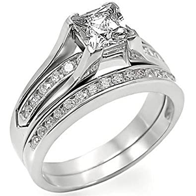 YourJewelleryBox S6X006 2PC CZ CUBIC ZIRCONIA ENGAGEMENT RING SET WEDDING BAND STERLING SILVER hnYF6XQc