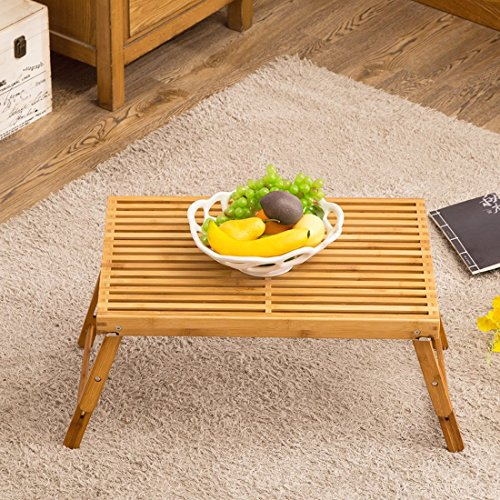 Bamboo Bed Tray Table, NNEWVANTE Folding Coffee Tea Table with Foldable Legs Laptop Desk with 2 Leg Locks Adjustable Breakfast Serving Tray End Table for Bed Reading/Watching TV/Outdoor Camping