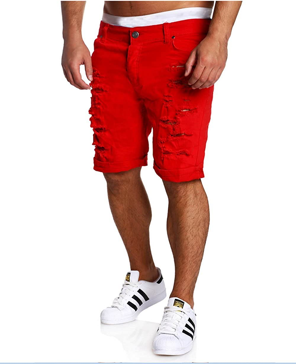 leveltech Mens Shorts Jeans Slim Knee Length Hole Ripped Pants
