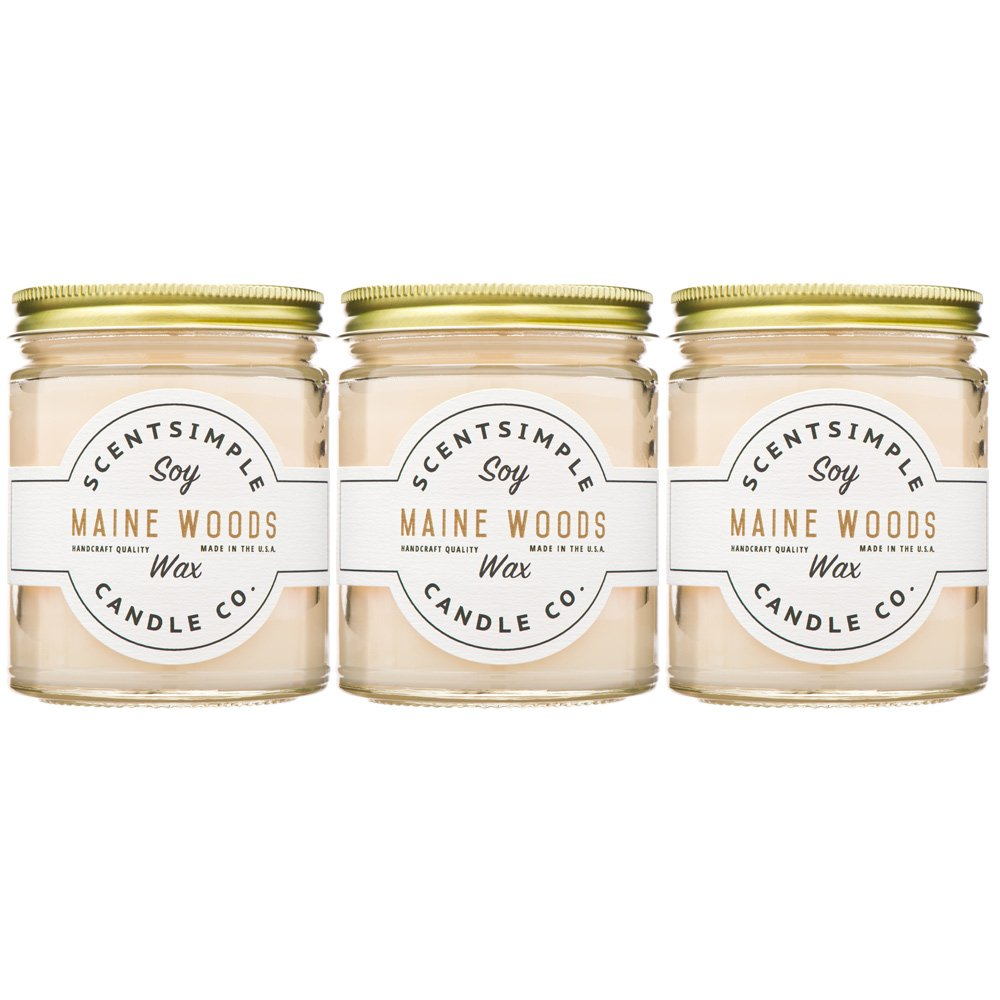 ScentSimple Scented Soy Candles - Maine Woods (3 Pack)