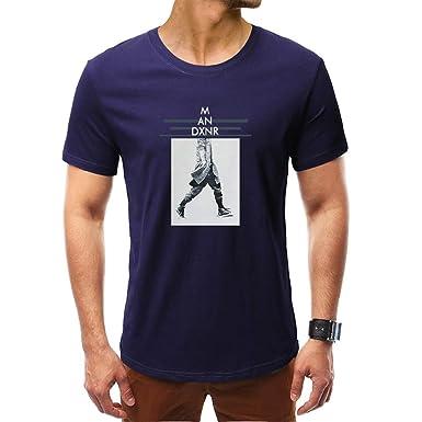 ❤️LEORTKS Impresión Hombre Camiseta Moda Verano Cartas Impresión ...