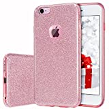 MILPROX Bling Glitter Pretty sparkle 3 Layer Hybrid Anti-Slick / Protective / Soft slim TPU Case for girls / women iPhone 6s plus / 6 Plus- Pink