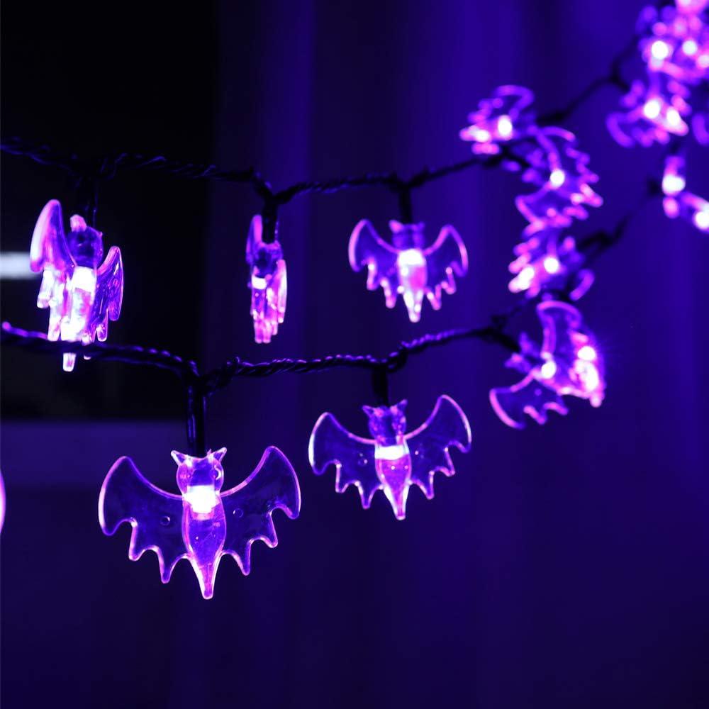 RECESKY 70 LED Bat String Lights - 22.6ft Halloween String Lights, Waterproof Plug in Light for Outdoor, Indoor Decor - Halloween Lighting for Garden, House, Halloween Party Decorations (Purple)