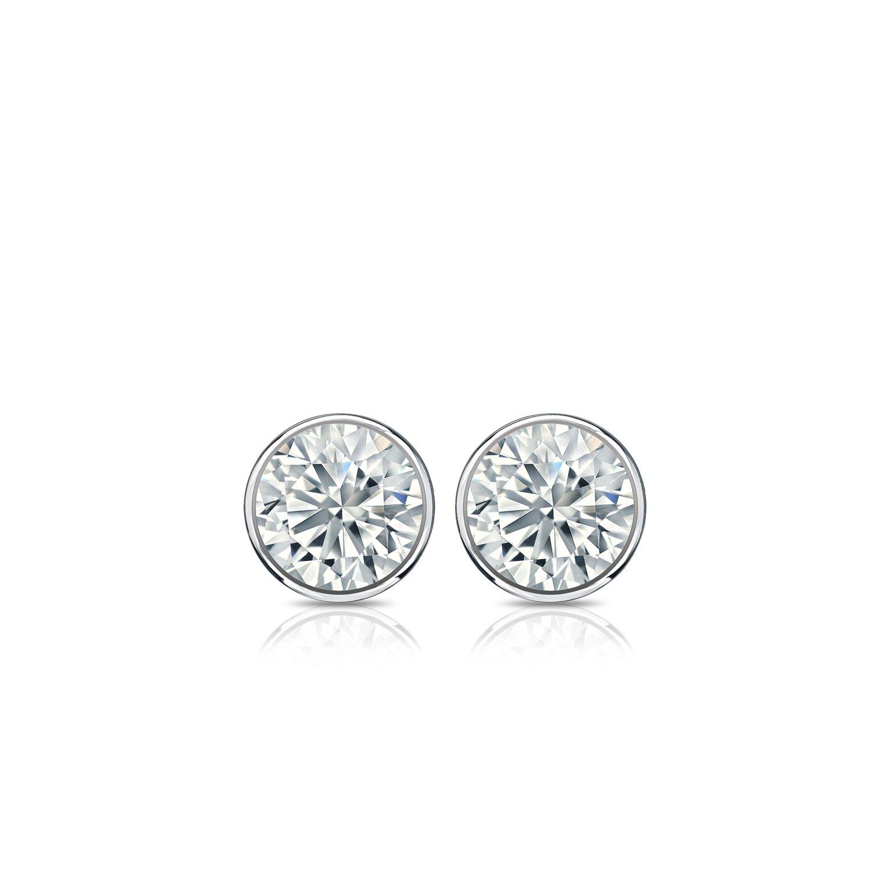 14k White Gold Bezel-set Round Diamond Stud Earrings (1/4 ct, G-H, SI2-I1) by Diamond Wish (Image #3)