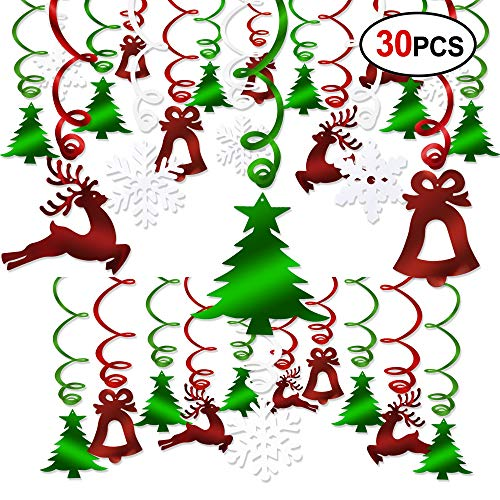 (Christmas Hanging Swirl Decoration Kit(30pcs), Konsait Merry Christmas Swirls Garland Green Red Foil Hanging Ceiling Decoration for Xmas Winter Wonderland Holiday Ugly Christmas Sweater Party Decor)