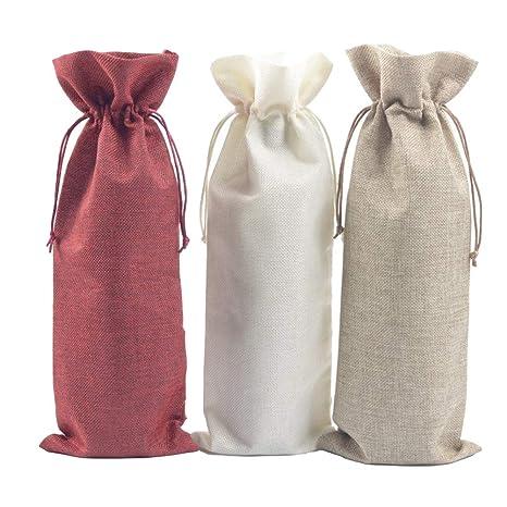 Toyvian Bolsas de lino para botellas de vino Bodas Fiestas ...