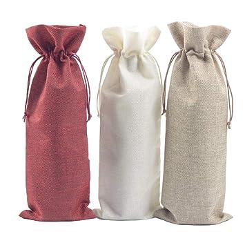 Toyvian Bolsas de lino para botellas de vino Bodas Fiestas de ...