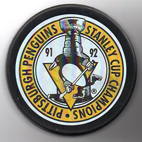 Pittsburgh Penguins 1992 Stanley Cup Champions Official NHL Puck + FREE Puck Cube
