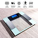 CUSIBOX Digital Bathroom Scale, Body Weight Scale with Highly Accuracy, Step-on Technology, Tempered Glass, Body Weight Measure, Body Fat Monitor with 10 Users Memory Mode