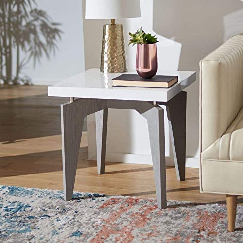 Safavieh Home Collection Josef Mid-Century Modern White and Grey End Table