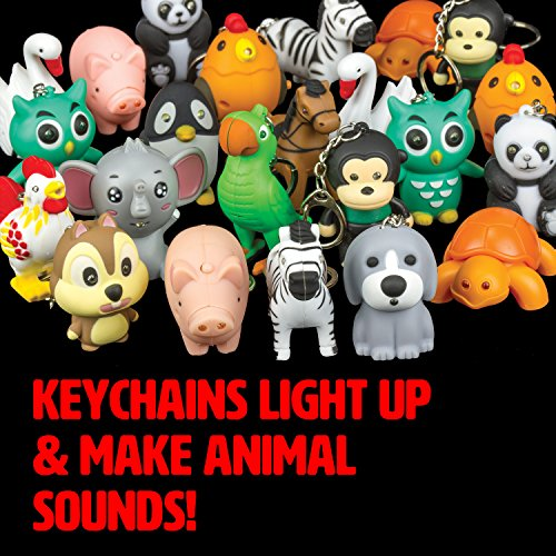 Zoo and Farm Animals Light and Sound LED Keychain (12 Pack) -