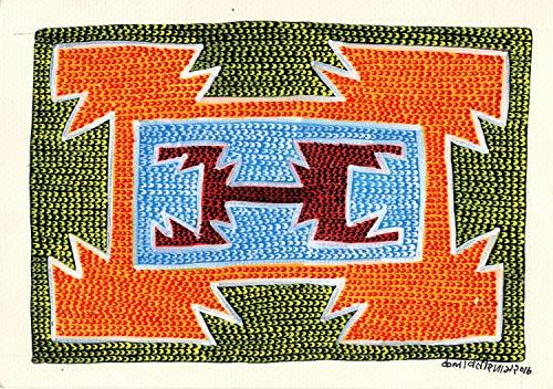 Handmade Gond Painting Indian Mosiac Pattern Tribal Folk Miniature Decor Art