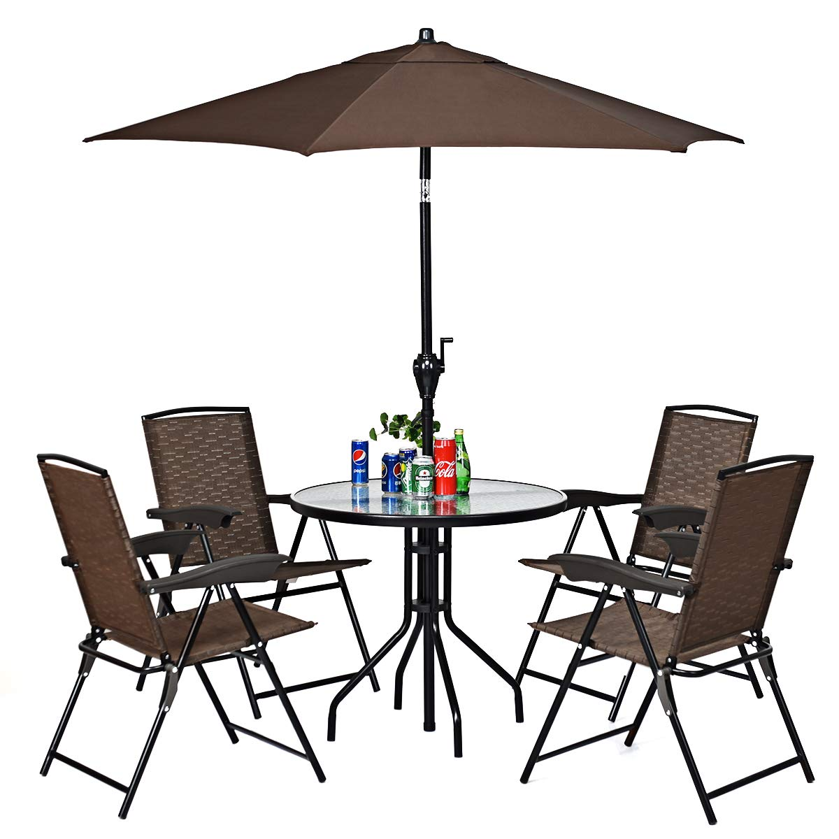 Goplus Sets of 4 Folding Sling Chairs Portable Chairs for Patio Garden Pool Outdoor & Indoor w/Armrests by Goplus (Image #4)