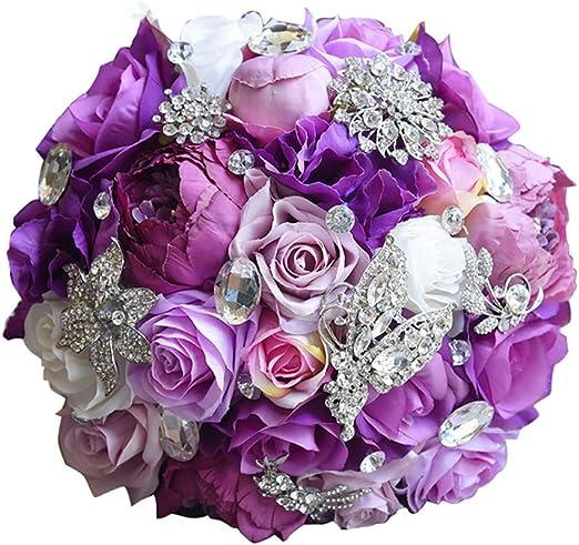Amazon Com Bridal Bouquet Artificial Silk Wedding Flower